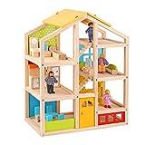 Tooky Toy Spielzeug Holz-Puppenhaus mit Puppen und Zubehör - 22-teilig für garantierten Spielspaß - mit Bett, Wohnzimmer, Bad und Küche - geeignet ab 3 Jahren - ca. 49 x 16 x 60 cm