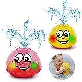 Addmos Baby Badespielzeug Wasserspielzeug , Baby Spielzeug, 2 x Wasser Badewannenspielzeug mit Licht für 1 2 3 4 5 Jahre alte Jungen Mädchen Gelb & Pink (2 Stück)