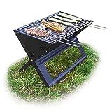 Relaxdays, schwarz Klappgrill, mit Kohle-und Grillrost, klappbarer Faltgrill, Picknick und Camping, HBT 30x45,5x30cm
