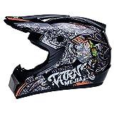 CZLWZZD Motocross Helmhandschuhe Maske und Schutzbrille (4er-Set) DOT-geprüfte Vollgesichts-Crash-Motorradhelme Kinder Quad Bike ATV Go-Kart Helm (52-59 cm)