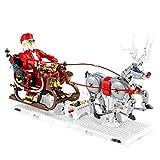 KCGNBQING Weihnachtsbau Set 1537 Stücke Verbindungsfähige Weihnachtsspielzeug Geschenk Weihnachtsschlitten BAU Kit Licht Dekorationen for Kinder und Erwachsene Kompatibel mit Lego Creator Zusammenbau