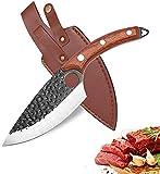 Kochmesser Küchenmesser,Professionell Handgeschmiedet Küchenmesser zum Fleischschneiden,Hackmesser mit Lederscheide zur Verarbeitung von Gemüse und Fleisch,Ausbeinmesser für die Küche Outdoor Camping