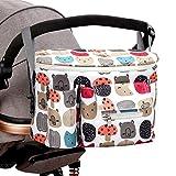 SGBETTER Kinderwagen-Organizer-Tasche, wasserdicht, Universal-Tasche für Kinderwagen, Schultergurt für Neugeborene, multifunktional, mit Haken und Reißverschluss, Set von Farben 1
