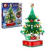 BAXT Weihnachten Baumhaus Bausteine, 486 Teile Rotierender Leuchtender Musikbaum Adventskalender 2021 Konstruktionsspielzeug Kompatibel mit Lego Weihnachten Creator
