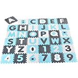 Juskys Kinder Puzzlematte Noah 36 Teile mit Buchstaben A-Z & Zahlen 0-9 - rutschfest – blau für Jungen - Puzzle ab 10 Monate - Spielmatte