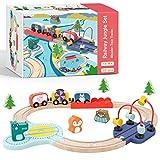 Tiny Land Holzzugset Lernen sensorisch Feinmotorik Spielzeug für Kleinkinder ab 18 Monaten - Kompatibel mit Brio Thomas Melissa und Doug Holzzugset verpackt