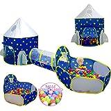3-teiliges Kinder-Spielzelt für Jungen mit Bällebad, Krabbeltunnel, Prinzessinnenzelte für Kleinkinder, Baby-Weltraum-Spielhaus Spielzeug, Jungen...