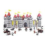 TikTakToo Coole, große Ritterburg mit Spielfiguren Königreich Burg Schloss (Variante A, Ritter in Silber/schwarz)