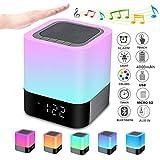 Bluetooth Lautsprecher mit Licht Nachttischlampe Touch Dimmbar Wecker Nachtlicht RGB Farbwechsel LED Tragbarer Bluetooth Lautsprecher Stimmungslicht Tischlampe Geschenke für Mädchen Kinder Teenager