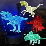 Dinosaurier Nachtlicht Geschenke, 4PCS Nachtlampe Spielzeug mit 16 Farbwechsel und Fernbedienung, Geschenke für Jungen ab 4 5 6+ Jahre