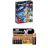 Playmobil Space 9488 Mars-Rakete mit Startrampe, Ab 6 Jahren + Duracell Plus AA Alkaline-Batterien, 12er Pack