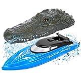 FunsLane RC Boot für Kinder, 2,4 GHz Hochgeschwindigkeits-Fernsteuerungs-Rennboot, Wasserspielzeug für Pool / See / Teich, Blau