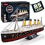 CubicFun 3D Puzzle LED 88 cm Titanic - Titanic Modell Boots Spielzeug für Erwachsene und Jugendliche, 266 Stück