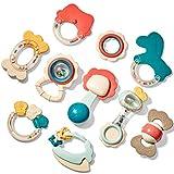 CubicFun Rassel Beißring Set Baby Spielzeug ab 0 3 6 9 Monate 10 PCS Shaker Greifen Rassel Baby Kleinkind Spielzeug Frühe Lernspielzeug für Jungen Mädchen Baby Geschenke