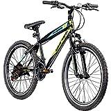 Jugendfahrrad 24 Zoll Mountainbike Fahrrad 24' Geroni Magnum Hardtai MTB Jugend (schwarz/grün/blau, 36 cm)