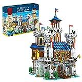 ITOP Modular Haus Baustein Satz mit Licht, 2722 Teile Europäische mittelalterliche Burg Bausteine Modell Bausatz Kompatibel mit Lego