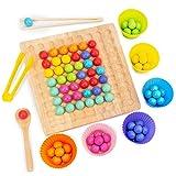 Holz Clip Beads Brettspiel,Clip Perlen Spiel Puzzle Board - Montessori Pädagogisches Holzspielzeug,Holz Clip Perlen Regenbogen Spielzeug - Puzzle Brettspiel