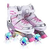 Kuxuan Saya Rollschuhe Verstellbar für Kinder, mit Leuchtenden Allrädern, Spaß für Mädchen und Damen - Mittel (32-35 EU)