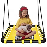 Nestschaukel Schaukel Outdoor -Garten-Schaukel Bis 150 Kg Belastbar -überragenden Komfort Haltbarkeit 2 Starke Schaukelgurte (Gelb)