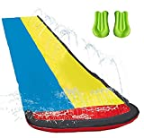 Wasserrutsche mit Surfbrett,16 Fuß Double Racing Lane Slip,Double Racing Slides,Speed Blast Dual Racing Wasserrutsche mit Spray Splash Pool und wassersprühenden Seitenschienen