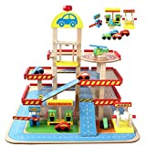 Toy Denkspiel Babyspielzeug, pädagogisches Spielzeug, Holzspielhaus Spielzeug, Simulation Große dreidimensionale dreischichtige Parkplatzspielzeug, montierte Auto-Spurspielzeug Bausteine