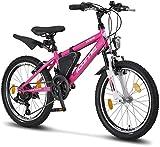 Licorne Bike Guide Premium Mountainbike in 20 Zoll - Fahrrad für Mädchen, Jungen, Herren und Damen - 18 Gang-Schaltung - Rosa/Weiß