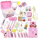KAIBINY 33 Teiliges Arztkoffer Medizinisches Spielzeug Doktor Set mit Arztkittel Doktorkoffer Rollenspiele Lernspielzeug als Arzt Krankenschwester Zahnarzt Geschenke für Kinder (Rosa)
