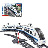 LIND Technik Zug Eisenbahn Bausteine, 941 Klemmbausteine 2.4Ghz RC Technik CRH2 Hochgeschwindigkeitszug mit Motoren und Fernbedienung Bausatz Kompatibel mit Lego