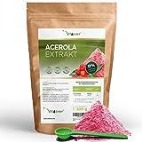 Acerola Pulver - 300 g (6,6 Monate Vorrat) - Natürliches Vitamin C - 200 Tagesportionen mit 1500 mg reinem Extrakt aus der Acerolakirsche - Laborgeprüft - Vegan