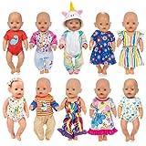 ebuddy 10 Sets fertiggestellt Verschiedene Puppenkleidungszubehörteile für 43 cm Neugeborene Babypuppen enthalten Kleid, Uniforn Strampler, Outfits, Bikini