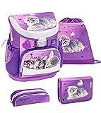 Belmil ergonomischer Schulranzen Set 4 -teilig für Mädchen 1, 2 Klasse Grundschule/Super Leicht 750-800 g/Brustgurt/Katze/Lila (405-33 Little Caty)