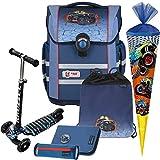 Ranger - Monstertruck - McNeill Ergo MAC mit Blinklicht AUF DEM RANZENDECKEL Schulranzen-Set 6tlg. mit SCHULTÜTE - Balance-Scooter mit Leucht-Rädern GRATIS DAZU