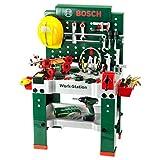 Theo Klein 8485 Bosch Werkbank Nr. 1 I 150-teilig I Inkl. Akkuschrauber, Konstruktionsset, Schleifgerät und vielem mehr | Batteriebetriebener Akkuschrauber mit Licht und realistischen Geräuschen