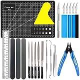 X SIM FITNESSX 22 Stück DIY Bastelwerkzeug Basic Tools Werkzeuge Kraft Handwerk Set Feilen Werkzeuge Set für Auto Modell Bausatz DIY Reparatur Fix Kit Specksteine Gundam Modell Werkzeuge
