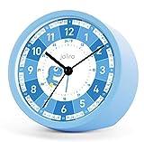 Joliro Kinderwecker ohne Ticken - für Jungen und Mädchen - Lernwecker Lernuhr Weckuhr Kinderuhr Quarzwecker Snooze Analog Quarz Wecker Blau (Blau)