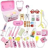 KAIBINY 33 Teile Arztkoffer Kinder, Doktorkoffer Kinder Rollenspiel Spielzeug Mit Rosa, Doktor-Spiel-Set Medizinischer Koffer Für Mädchengeschenke Im Alter Von 3+ Jahren (Rosa)