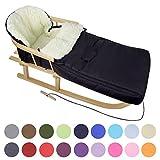 Kombi-Angebot Holz-Schlitten mit Rückenlehne & Zugseil + universaler Winterfußsack (108cm), auch geeignet für Babyschale, Kinderwagen, Buggy, aus Wolle Uni schwarz