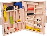 """small foot 2020954 2079 Werkzeugkoffer """"Lino"""" aus Holz, mit 12 Spielwerkzeugen von Hammer bis zur Bohrmaschine, ab 3 Jahren"""