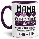 Tassendruck Geschenk Tasse mit Spruch PERSONALISIERT Mama von Kindern - Kaffee-Tasse/Geschenkidee Geburtstag Muttertag/Muttertagsgeschenk - Innen & Henkel Violett