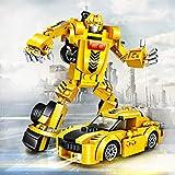 joylink Roboter Spielzeug, 2 in 1 lustiges kreatives Set Pädagogisches Spielzeug-Set der Roboter-Auto-Bausteine, Bestes Spielzeug Geschenk für Kinder 4-14 Jahre alt (Gelb)