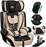 KIDIZ® Autokindersitz Kindersitz Kinderautositz | Autositz Sitzschale | 9 kg - 36 kg 1-12 Jahre | Gruppe 1/2 / 3 | universal | zugelassen nach ECE R44/04 | 6 verschiedenen Farben | Beige