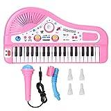 Operalie E-Piano, 37 Keyboard E-Piano Instrument mit Mikrofon Kinder Pädagogisches Spielzeug für Kleinkinder, Pädagogisches Musikspielzeug(Rosa)
