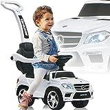 Mercedes Benz SUV AMG Rutschauto mit Schubstange Licht und Musik (offiziell lizenziert) Kinder Fahrzeug (WEIß)