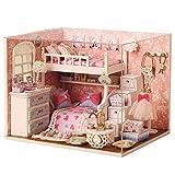 SJYDQ MSWJGLSDB Puppenhaus Miniatur-DIY-Kit mit Abdeckung und LED-Holz-Spielzeug-Puppe Haus Zimmer Modell Kunst Geburtstags-Geschenk