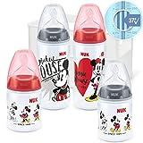 NUK Disney Micky Mouse First Choice + Babyflaschen Starter Set | 4 Anti-Colic Babyflaschen (2x 150ml & 2x 300ml) | Temperature Control Anzeige | Silikonsauger | Flaschenbox | BPA-frei