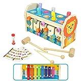 Symiu Hammerspiel Holzspielzeug Montessori Baby 3 IN 1 Kinder Spielzeug Xylophon Labyrinth mit Klopfbank Musikinstrumente Geschenk für Kinder Ab 3 4 5 6 Jahre Junge Mädchen