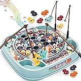 Dreamon Angelspiel Fisch Spielzeug für Kinder Mehrfarbiger Fisch Musikalisches Angelset Spielzeug Pädagogisches Geschenk für Junge Mädchen
