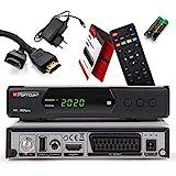 Opticum SBOX Plus HD Sat Receiver - PVR Aufnahmefunktion Timeshift - Media-Player Full-HD Digitalreceiver DVB-S / S2 - USB, SCART, HDMI, UNICABLE - Astra Hotbird vorinstalliert + Anadol HDMI Kabel