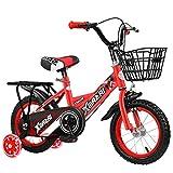 HYDL Kinderfahrrad für Jungen MäDchen, 12 14 16 Zoll - mit Stützrädern, Puppensitz und Fahrradkorb - ab 2-7 Jahre - Sattel und Lenker einstellbar,Rot,12in