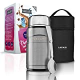 LACARI Thermobehälter für Essen in Silber | 700ml Thermosflasche aus Edelstahl | Warmhaltebehälter Essen | Lunchbox & Müsli to go Becher | Essensbox BPA frei | Inklusive Löffel & Transporttasche
